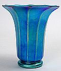 Steuben blue aurene vase, signed, art glass