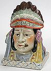 Indian Chief figural tobacco jar