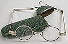 Green shagreen spectacles case & silver eyeglasses 1790