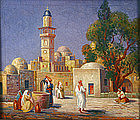 Gustav Adolph Hensel orientalist painting of a mosque