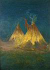 Carl Ahrens painting of plains Indian Camp with tepees