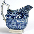 Historical Staffordshire blue creamer, milk jug