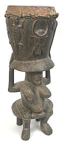Senufo ceremonial drum, African, Ivory Coast