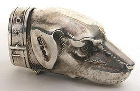 Figural dog's head sterling silver match safe, vesta