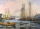 Frederick Kubitz watercolor painting, Boston Harbor