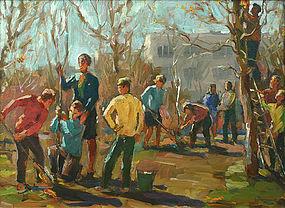 Vadim Federovich Korobov Russian painting, 'Spring'
