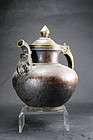 Bronze & Copper Tea Kettle, Tibet, 19th C.