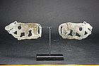Pair of Bronze Plaques, China, Ordos Culture