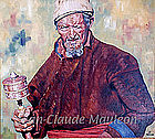 PORTRAIT OF AN OLD TIBETAN by JEAN-CLAUDE MAULEON