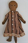 early small  black cloth doll with shoe button eyes
