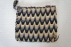 Antique flame stitch purse in blue and cream wool