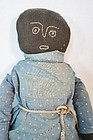 Antique simple stockinette black doll calico dress