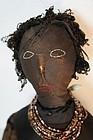 "27""  antique black cloth doll homespun skirt"