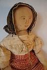 """Outstanding early homespun linen doll  28"""""""