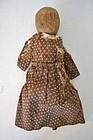 1820-30 wooden bedpost doll brown calico dress