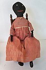 """Early black cloth doll with applied nose 20"""""""