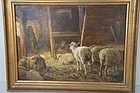 Sheep painting by listed artist Charles F. Pierce