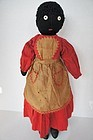 Sweet antique black cloth doll with button eyes