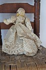 Early clothes pin doll, cotton and lace, ink face