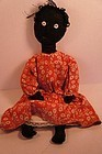 Black cloth doll button eyes calico dress antique