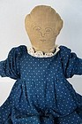 Antique rag filled hand sewn cloth doll great embroidered face