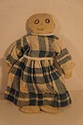 Small antique rag doll homespun linen dress