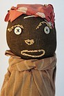Folk Art black doll door stop antique embroidered face
