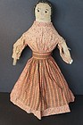 Antique cloth doll embroidered face brown calico dress 17""