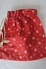 Red calico ditty seed bag all original 1880 antique