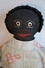 "Anttique black cloth doll embroidered face 21"" rag stuffed"