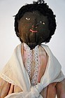 Very beautiful black bottle doll doorstop antique 17""