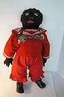 "22"" black cloth doll in sailor suit, straw stuffed antique"