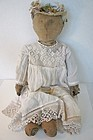 "Ready for summer 24"" pencil face antique cloth doll 19th C."