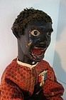 19th C. carved wooden black folk doll, ventriloquist 35""