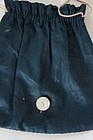 Tiny early button bag in indigo blue egg washed cotton