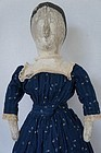 "21"" homemade antique cloth doll painted face blue calico dress"