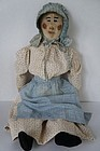 Antique painted country face rag doll calico bonnet and dress  24""