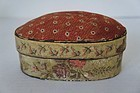 "Wallpaper covered pin cushion box 5 1/2"" 1835 antique"