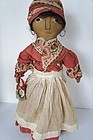 "Black cloth doll original clothes embroidered face 15""  antique"