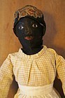 Wonderful face Baltimore black cloth doll center seam ears 1880