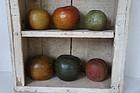 6 antique chalkware banks apples, peach, pepper redware