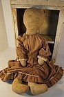 """Really big really nice ink drawn face antique cloth doll 27"""""""
