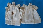 Two tiny rolled linen baby dolls twins antique C. 1830-40's