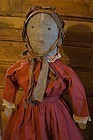Large antique cloth doll Ink face, bead eyes, center seam 19 C.