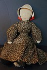 """Early brown calico dress on an antique cloth doll  20"""""""