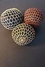 Antique Pennsylvania string balls, black string colorful wrap