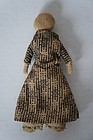 "5"" antiques cloth doll with rolled arms and brown calico dress"