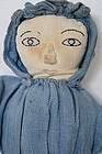 Topsy turvy doll great embroidered faces applied noses antique
