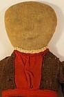 "Simply nice big head pencil face rag doll 17"" antique"
