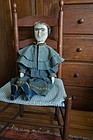 "19th C carved wooden doll 30""  blue boots great clothes antique"